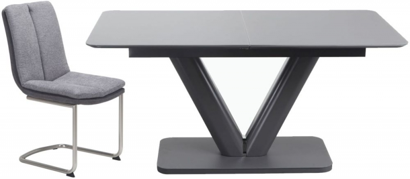 Urban Deco Panama Extending Grey Dining Table and Tucson Grey Chairs