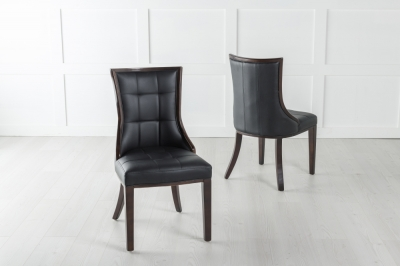 Paris Black Leather Dining Chair - Polished Brown Legs & Side Trims