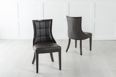 Paris Brown Leather Dining Chair - Polished Brown Legs & Side Trims