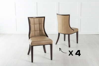 Set of 4 Paris Beige Faux Leather Dining Chair