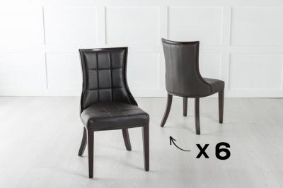 Set of 6 Paris Black Faux Leather Dining Chair