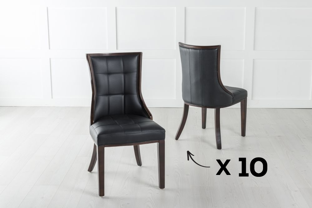 Set of 10 Paris Brown Faux Leather Dining Chair