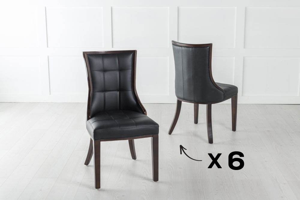 Set of 6 Paris Brown Faux Leather Dining Chair