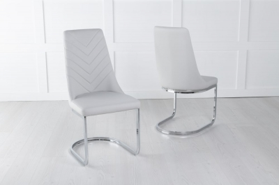 Phoenix Light Grey Faux Leather Dining Chair