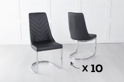 Set of 10 Phoenix Black Faux Leather Dining Chair