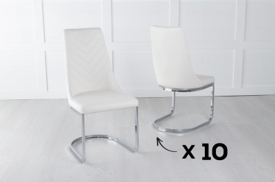Set of 10 Phoenix Cream Faux Leather Dining Chair