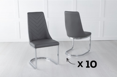 Set of 10 Phoenix Dark Grey Faux Leather Dining Chair