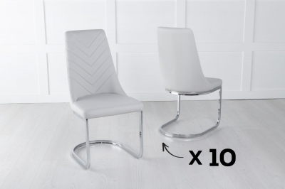 Set of 10 Phoenix Light Grey Faux Leather Dining Chair