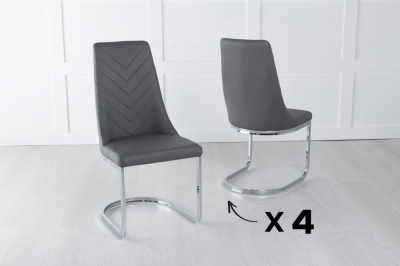 Set of 4 Phoenix Dark Grey Faux Leather Dining Chair