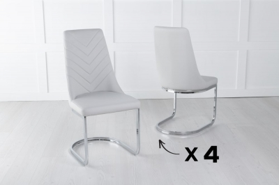 Set of 4 Phoenix Light Grey Faux Leather Dining Chair