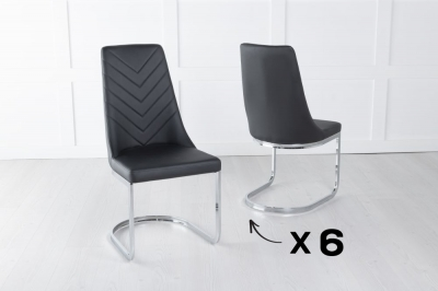 Set of 6 Phoenix Black Faux Leather Dining Chair