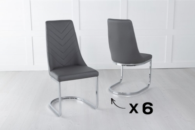 Set of 6 Phoenix Grey Faux Leather Dining Chair
