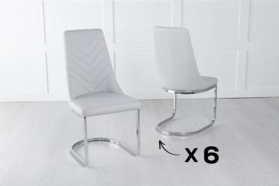 Set of 6 Phoenix Grey Leather Dining Chair with Brushed Stainless Steel Cantiliver Base