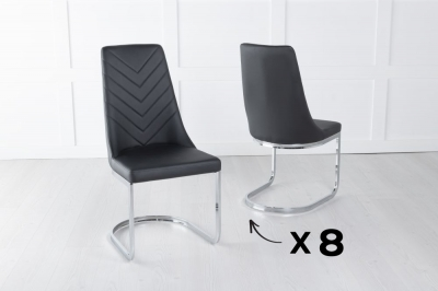 Set of 8 Phoenix Black Faux Leather Dining Chair