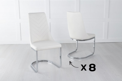 Set of 8 Phoenix Cream Leather Dining Chair with Brushed Stainless Steel Cantiliver Base