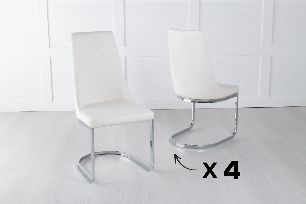 Set of 4 Phoenix Cream Faux Leather Dining Chair