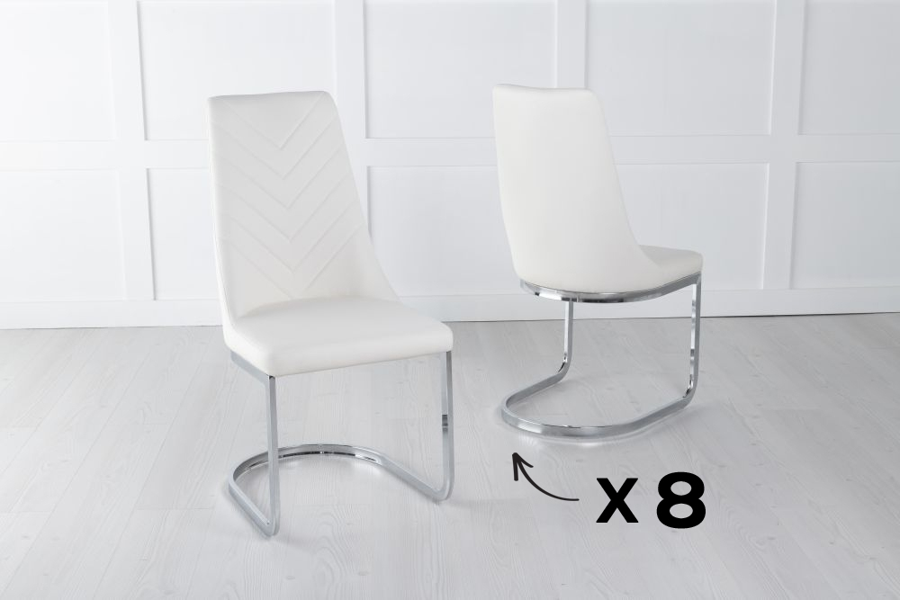 Set of 8 Phoenix Cream Faux Leather Dining Chair