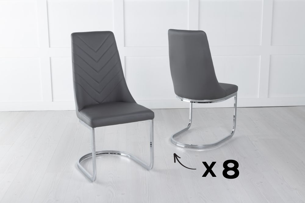 Set of 8 Phoenix Grey Faux Leather Dining Chair