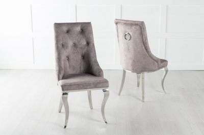 Premiere Beige Velvet Knockerback Ring Dining Chair With Chrome Legs