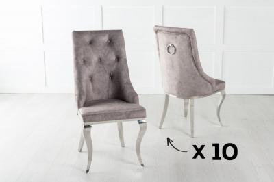 Set of 10 Premiere Beige Velvet Knockerback Ring Dining Chair With Chrome Legs