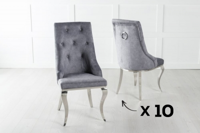 Set of 10 Premiere Grey Velvet Knockerback Ring Dining Chair With Chrome Legs