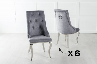 Set of 6 Premiere Grey Velvet Knockerback Ring Dining Chair With Chrome Legs
