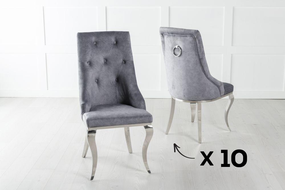 Set of 10 Premiere Grey Velvet Knockerback Ring Dining Chair With Chrome Legs