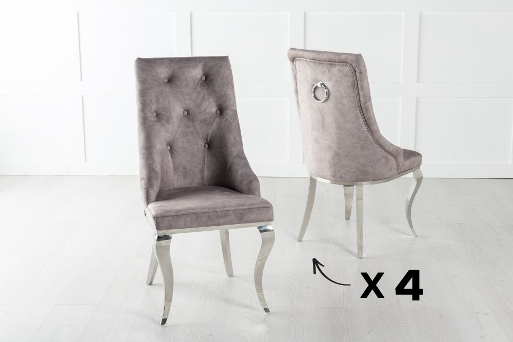 Set of 4 Premiere Beige Velvet Knockerback Ring Dining Chair With Chrome Legs
