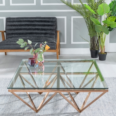 Urban Deco Prism Glass and Rose Gold Coffee Table