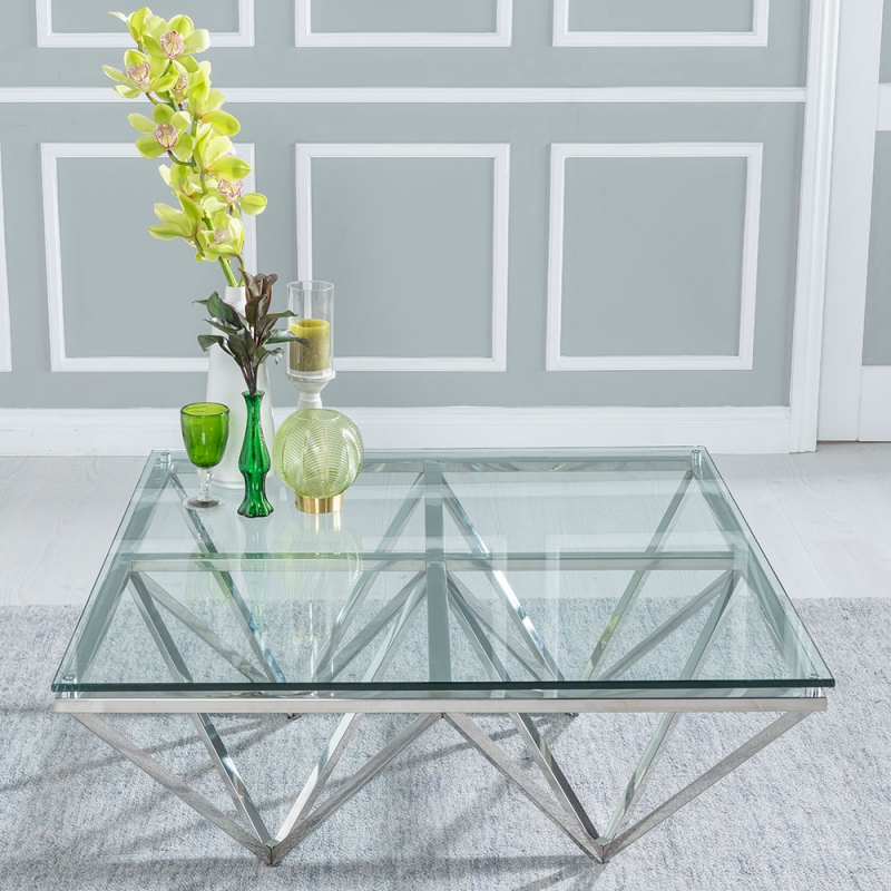 Urban Deco Prism Coffee Table - Glass and Stainless Steel Chrome