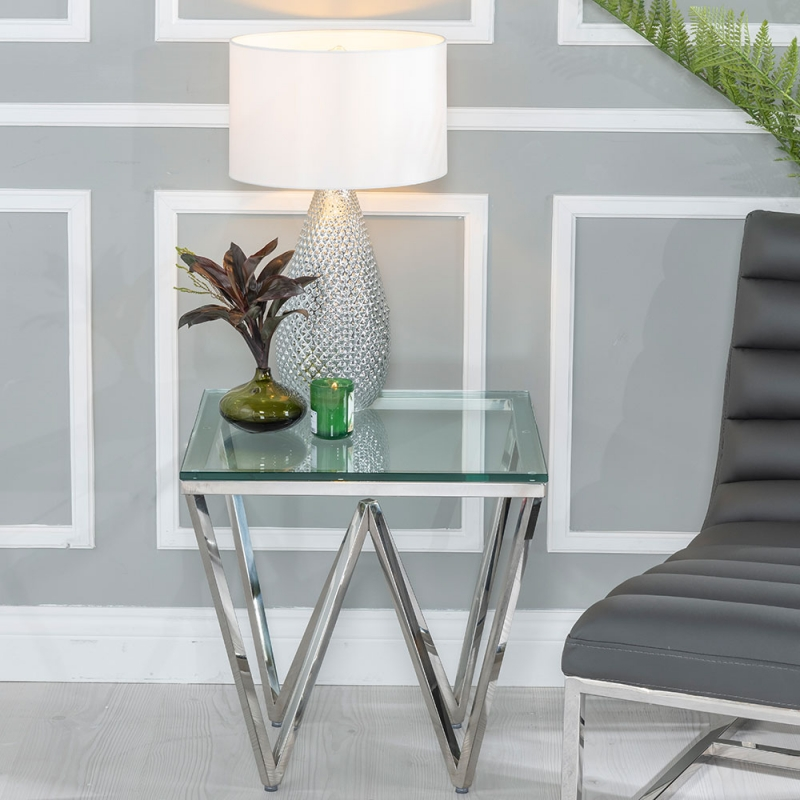 Urban Deco Prism Side Table - Glass and Stainless Steel Chrome