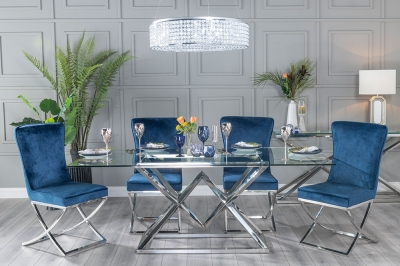 Urban Deco Pyramid 200cm Glass and Chrome Dining Table