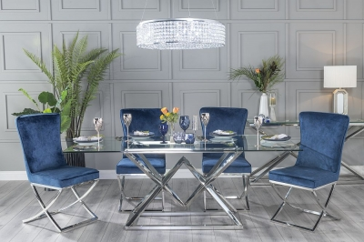 Buy Urban Deco Pyramid 200cm Glass and Chrome Dining Table with 4 Lyon Blue Fabric Chairs and Get 2 Extra Chairs Worth £438 For FREE