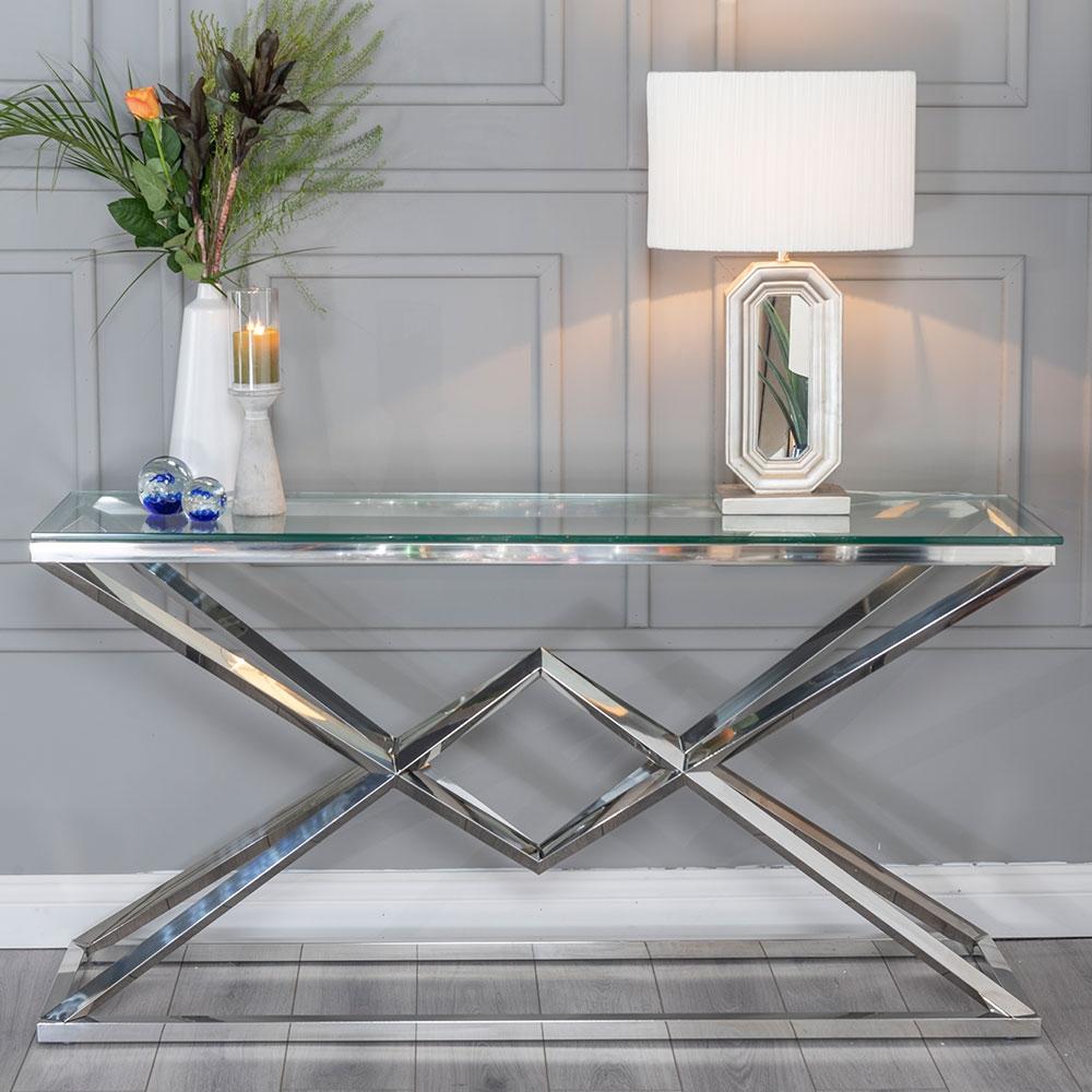 Urban Deco Pyramid Glass and Chrome Console Table