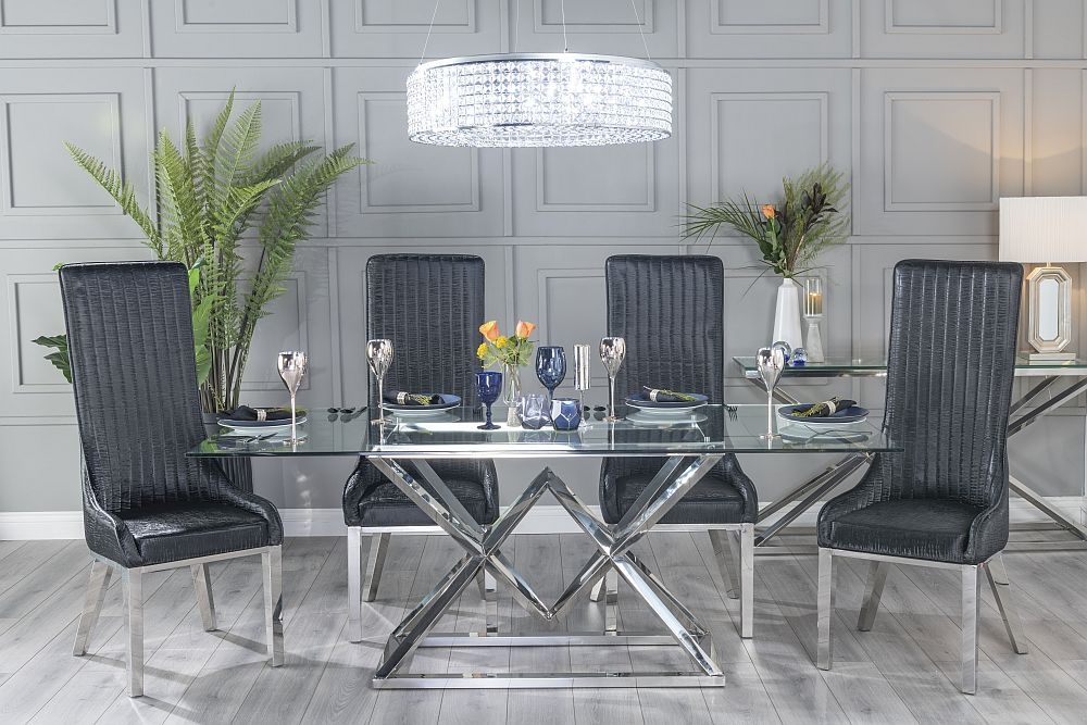 Buy Urban Deco Pyramid Glass and Chrome 200cm Dining Table with 4 Allure Black Chairs and Get 2 Extra Chairs Worth £438 For FREE