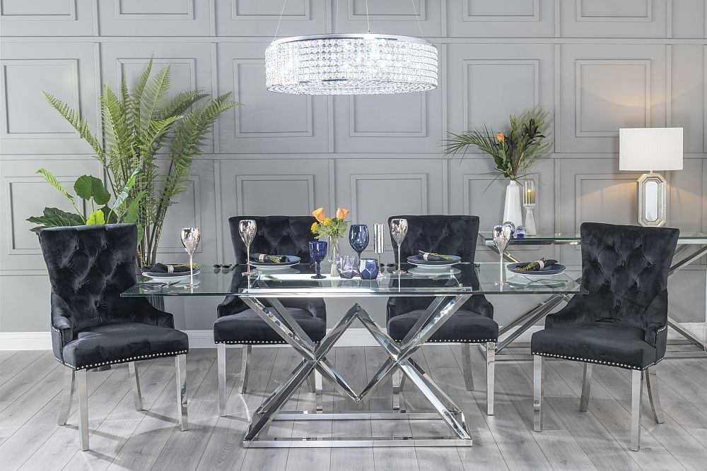 Urban Deco Pyramid Dining Table with Black Velvet Knockerback Chairs - Glass and Stainless Steel Chrome