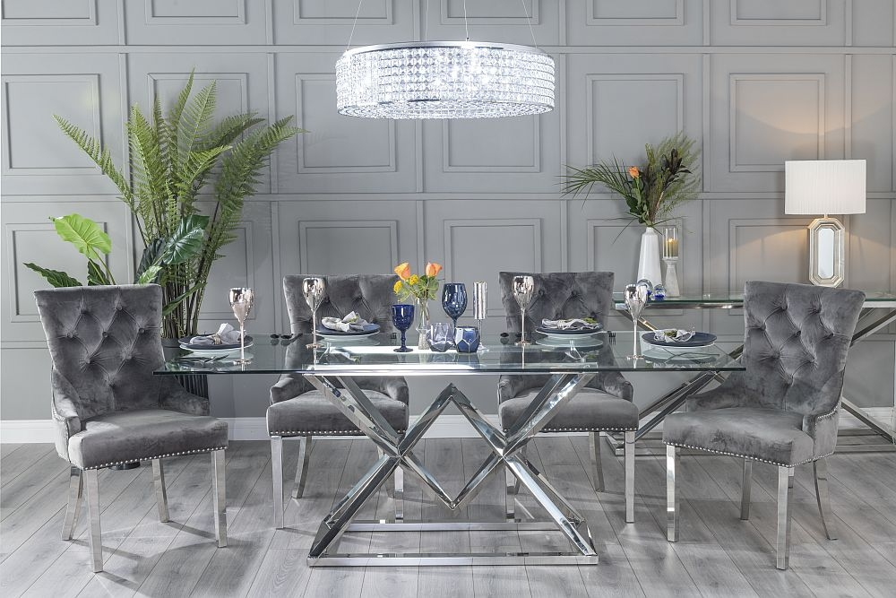 Urban Deco Pyramid Dining Table with Grey Velvet Knockerback Chairs - Glass and Stainless Steel Chrome