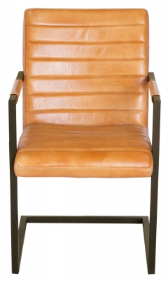 Quinn Genuine Leather Carver Dining Chair - Tan