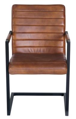 Quinn Genuine Leather Carver Dining Chair - Vintage Brown