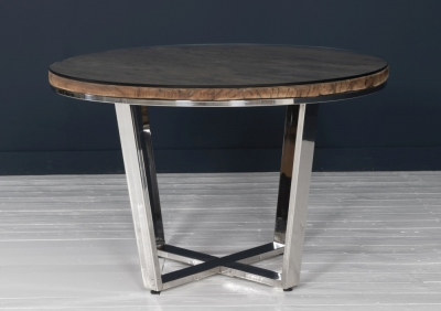 Railway Sleeper Wood Glass Top 120cm Round Dining Table