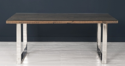 Railway Sleeper Wood Glass Top 180cm Dining Table