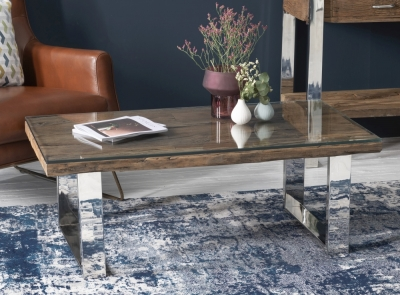 Railway Sleeper Wood Glass Top Coffee Table