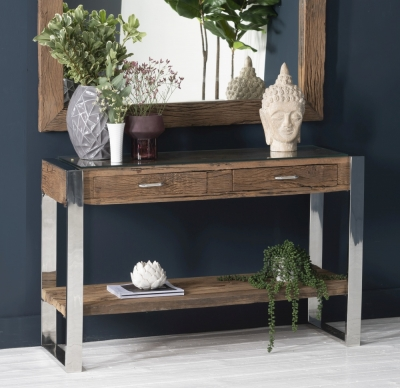 Railway Sleeper Wood Glass Top Console Table