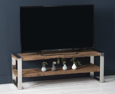 Railway Sleeper Wood Open Entertainment Unit