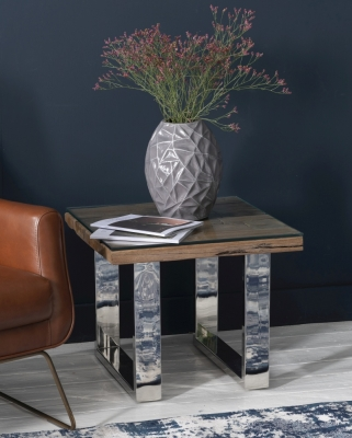 Railway Sleeper Wood Glass Top Side Table