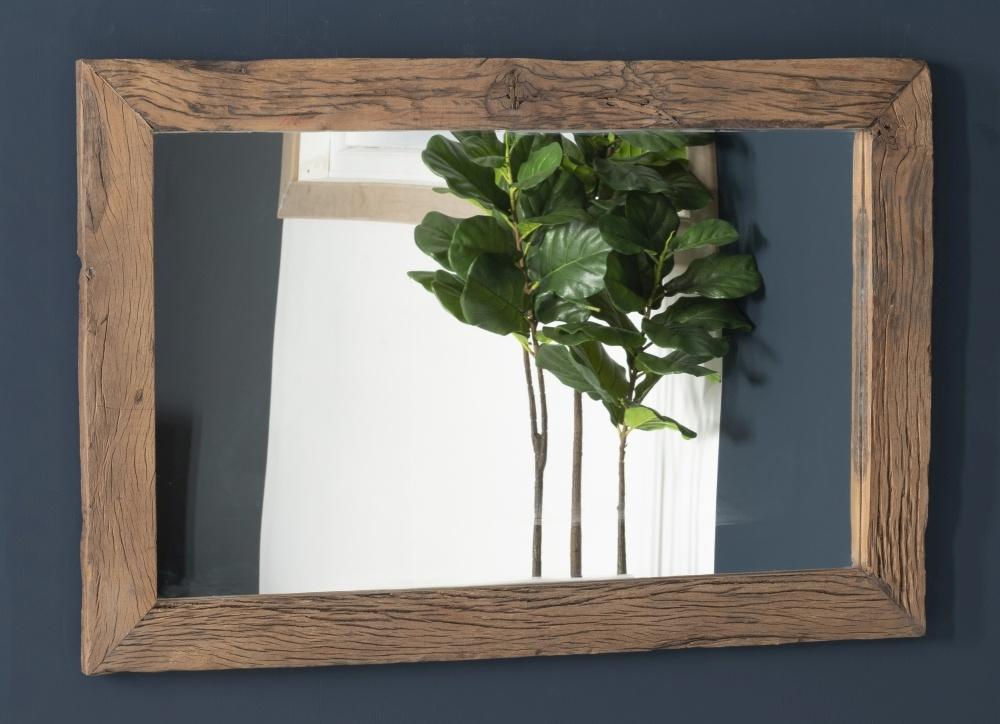 Railway Sleeper Wood Glass Top Wall Mirror
