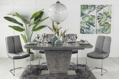 Urban Deco Rimini Ceramic Effect Black Glass 160-200cm Dining Table and 6 Tucson Grey Chairs