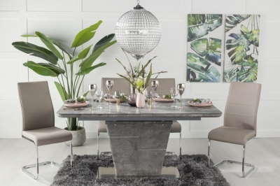 Urban Deco Rimini Ceramic Effect Grey Glass 160-200cm Dining Table and 6 Malibu Taupe Chairs