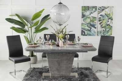 Urban Deco Rimini Ceramic Effect Grey Glass 160-200cm Dining Table and 6 Malibu Black Chairs