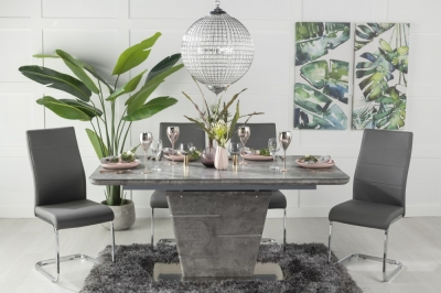 Urban Deco Rimini Ceramic Effect Grey Glass 160-200cm Dining Table and 6 Malibu Grey Chairs